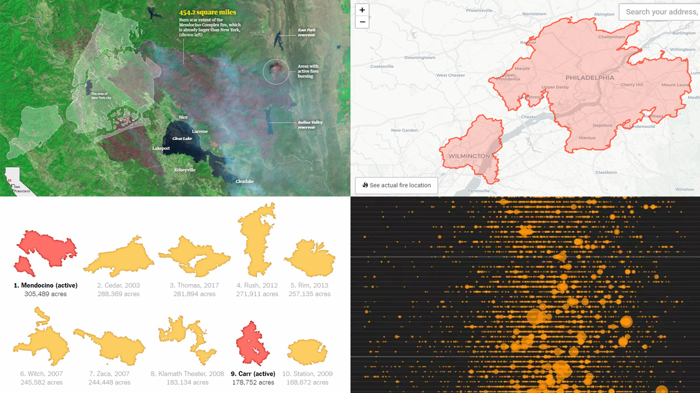National Fire Map 2018.California Wildfire In Maps And Charts Dataviz Weekly