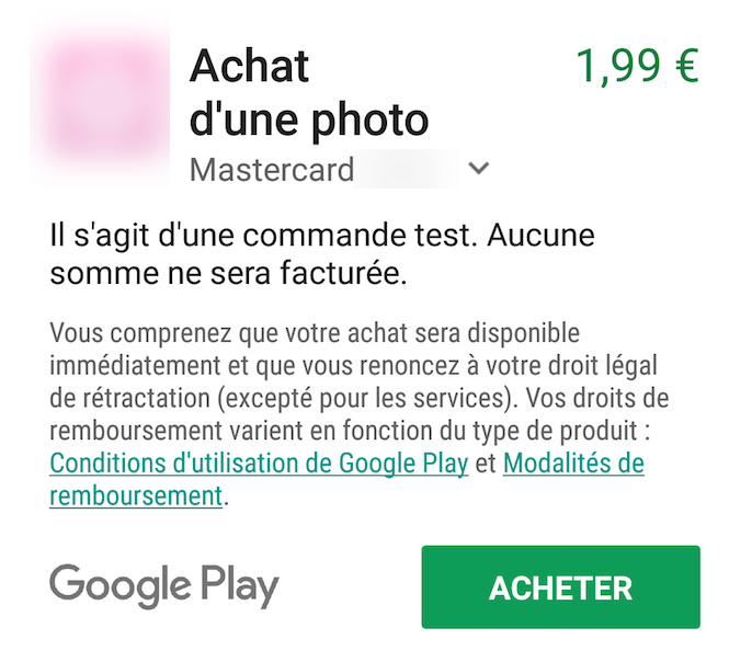 A test payment request from Google PlayStore