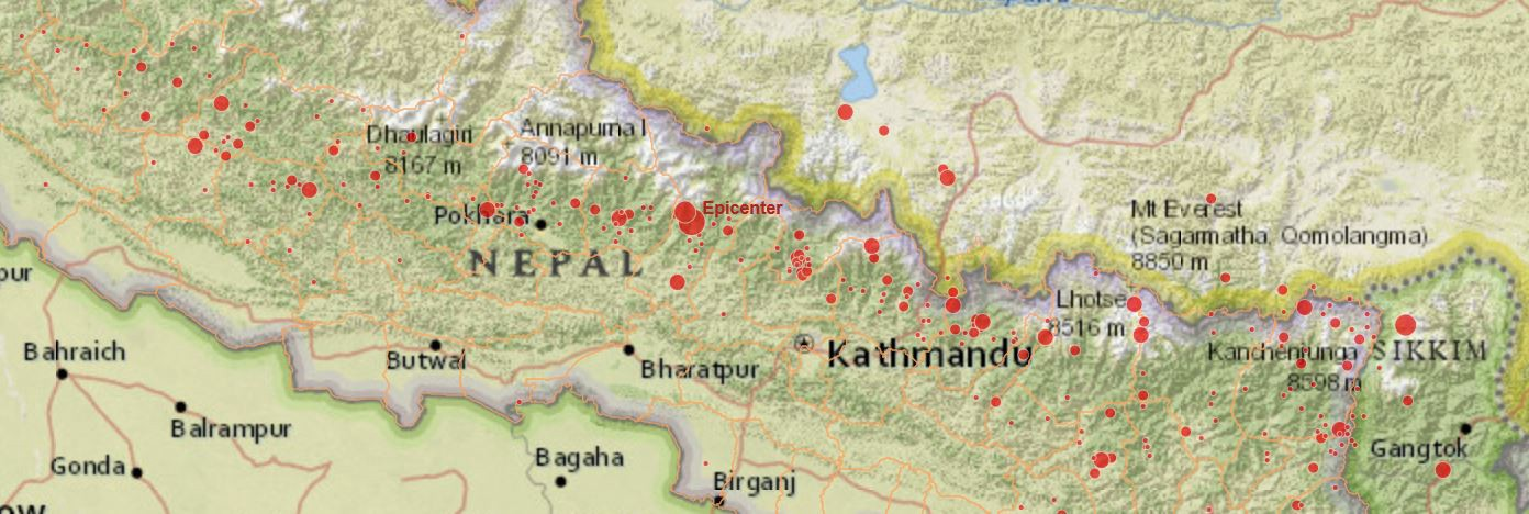 The nepal earthquake in five maps esri medium gumiabroncs Choice Image