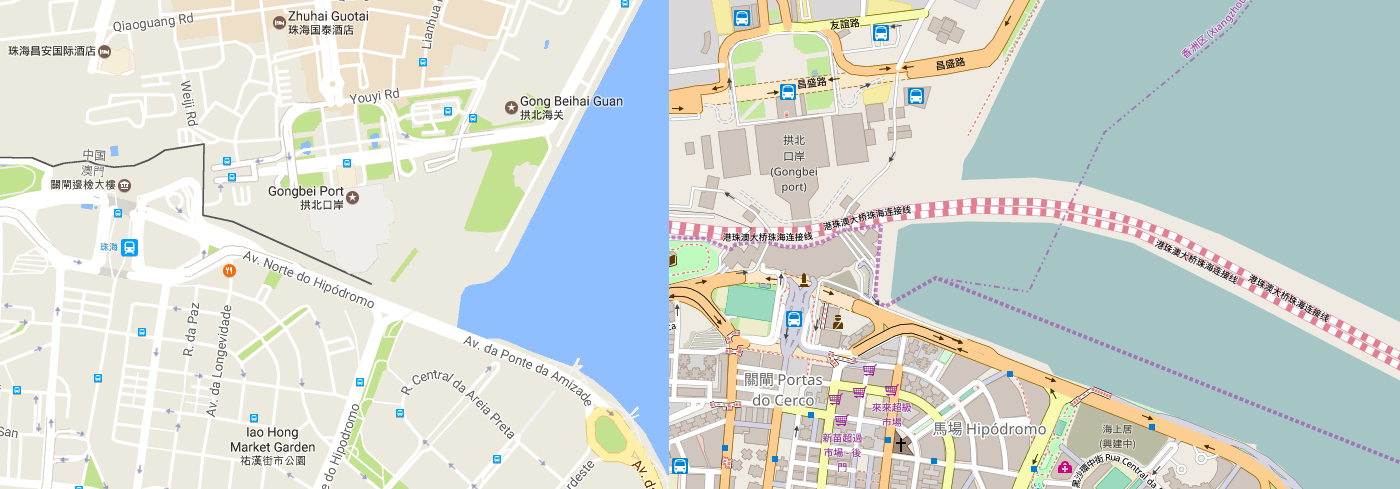 The world according to china vs osm nick doiron medium same area on google maps left and openstreetmap right gumiabroncs Gallery