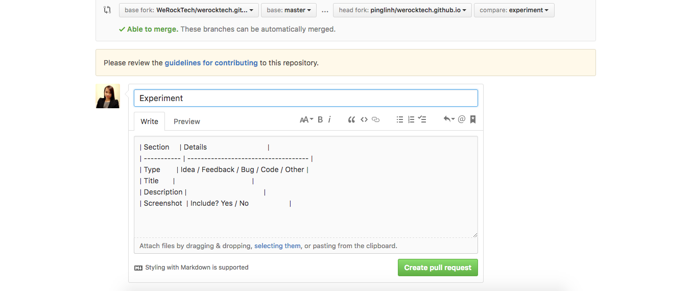 Markdown section to add type, title, description and screenshot of the pull request.