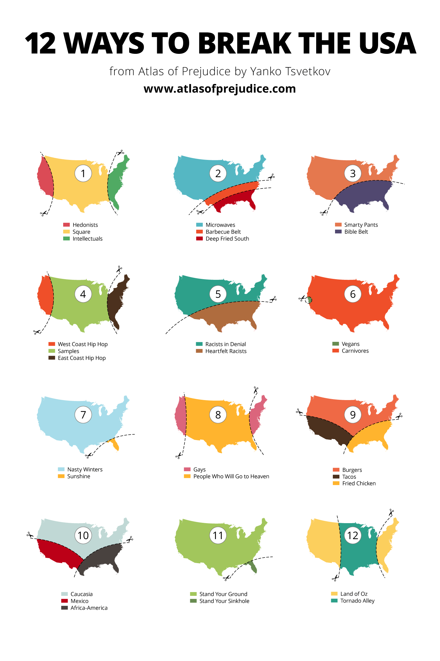 12 ways to break the usa – atlas of prejudice