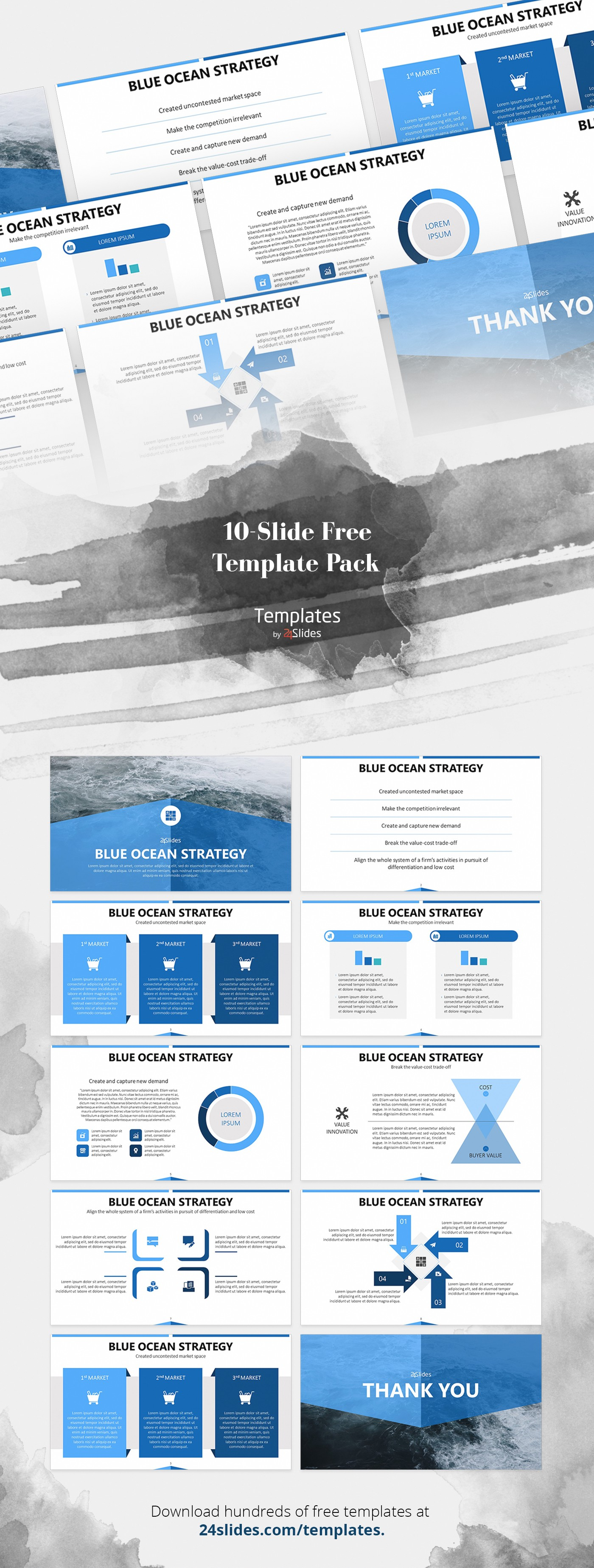 Blue Ocean Strategy Presentation Template Free Download
