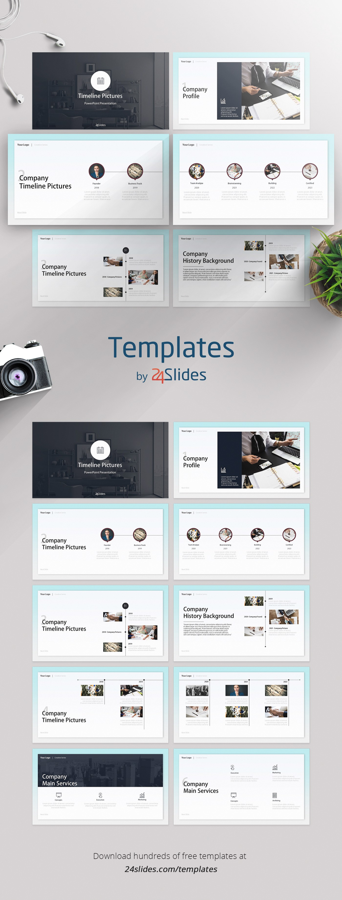 Timeline Picture Creative Presentation Template Free Download