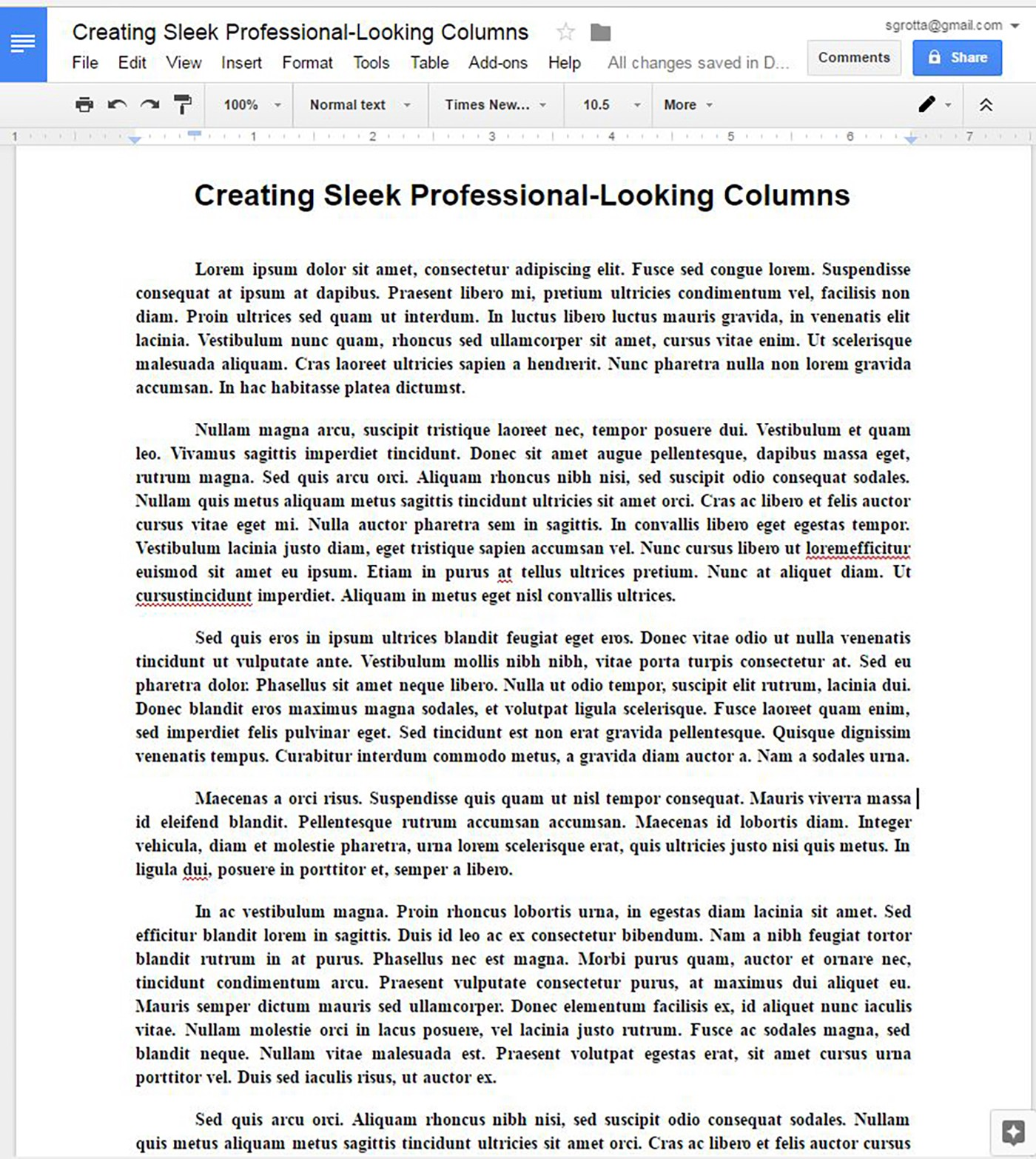 Create Sleek Professional-Looking Newsletter-Type Columns in Google Docs