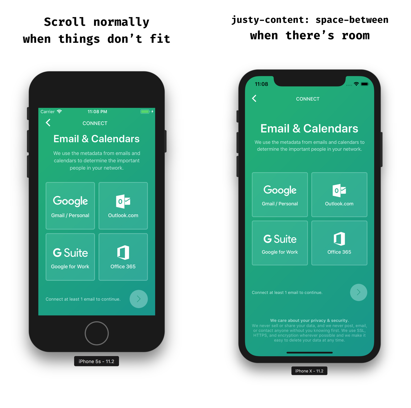 Taming react natives scrollview with flex peter piekarczyk medium a comparison between what the screens should look like on an iphone 5s vs iphone x ccuart Gallery