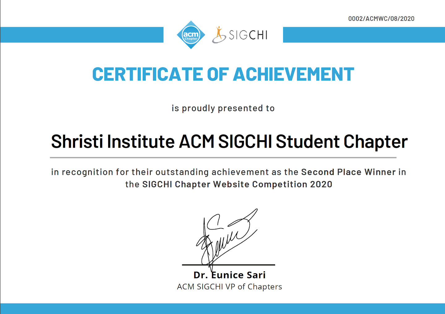 Second Place Winner Certificate of Achievement for Shristi Institute ACM SIGCHI Student Chapter