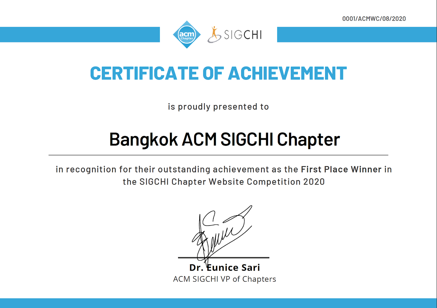First Place Winner Certificate of Achievement for Bangkok ACM SIGCHI Chapter