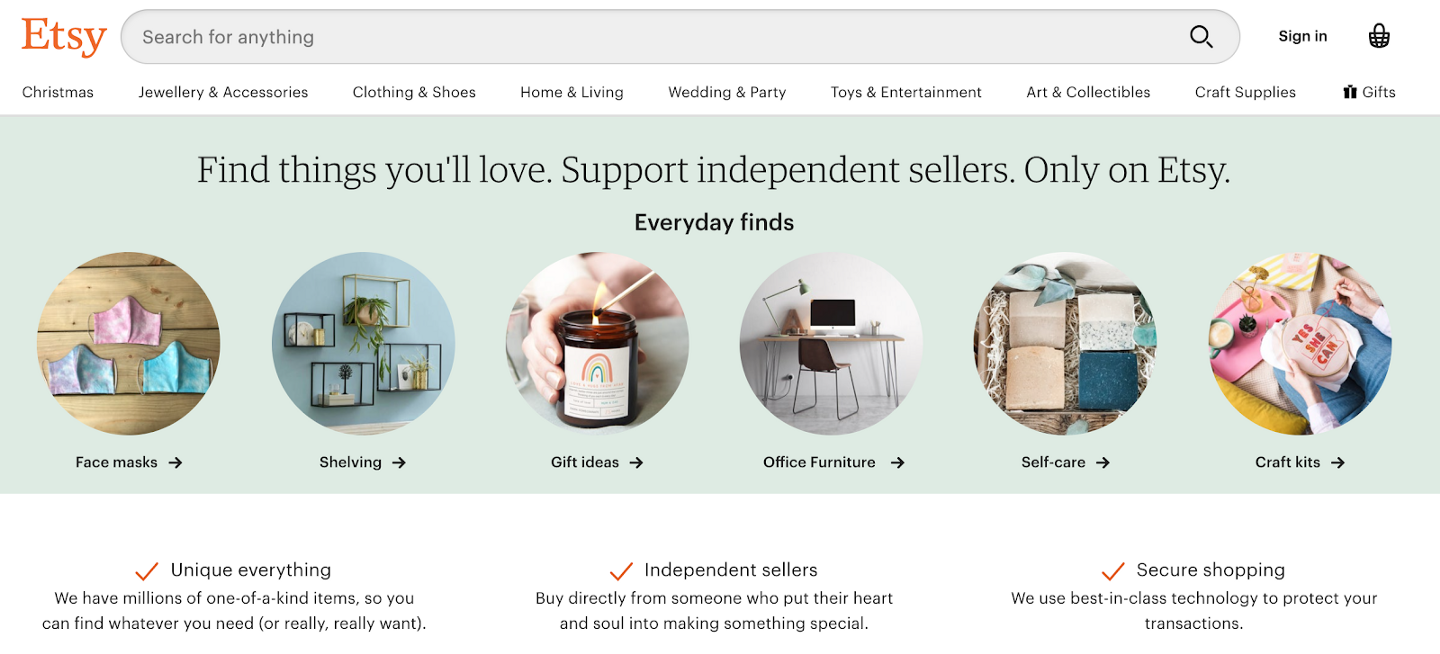 Etsy Landing Page Passion Economy