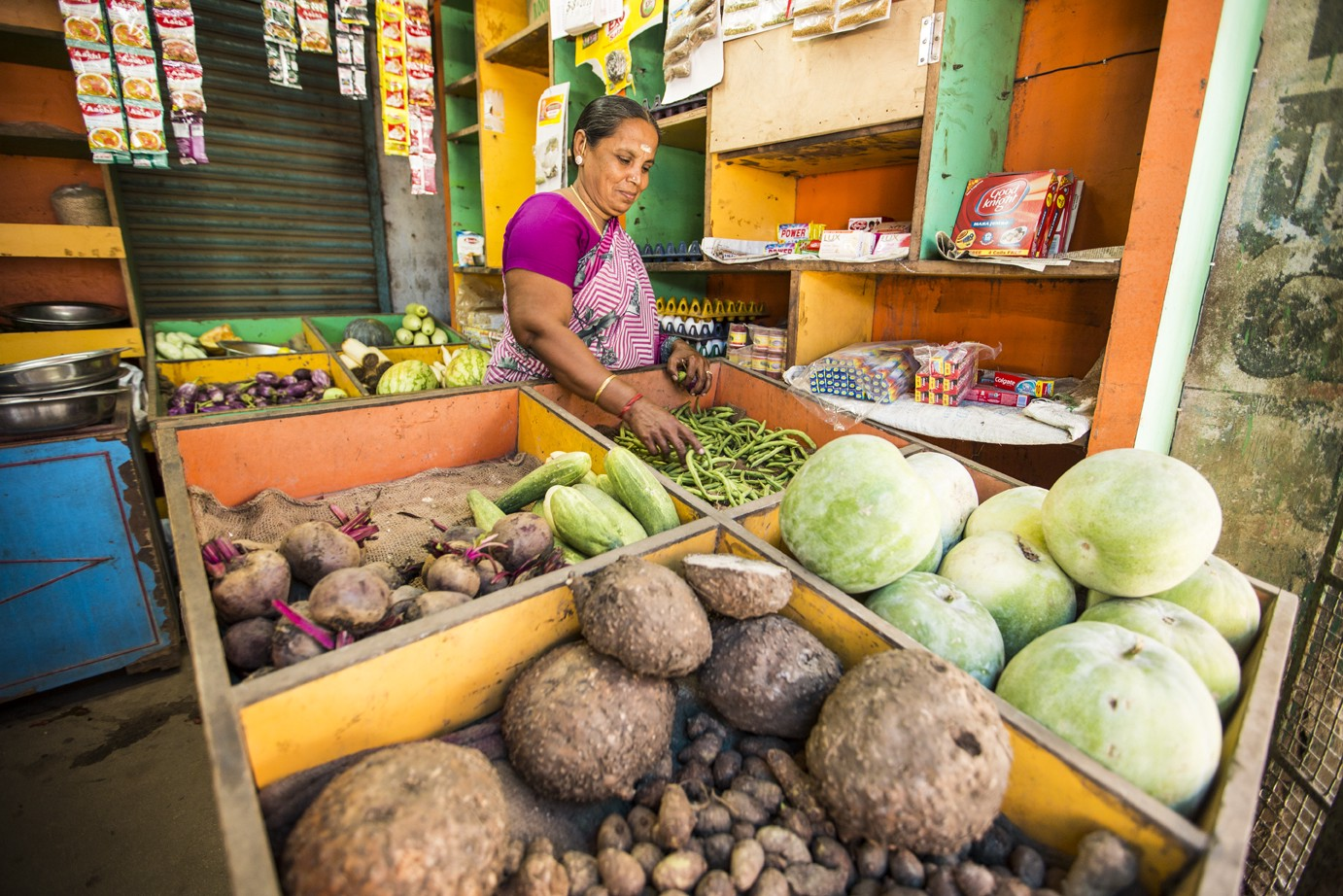 Kalaivani M. is one of Swadhaar's 500,000 clients in India. She uses funding from Swadhaar to support her vegetable shop in the village of Ambalapattu in state of TamilNadu.