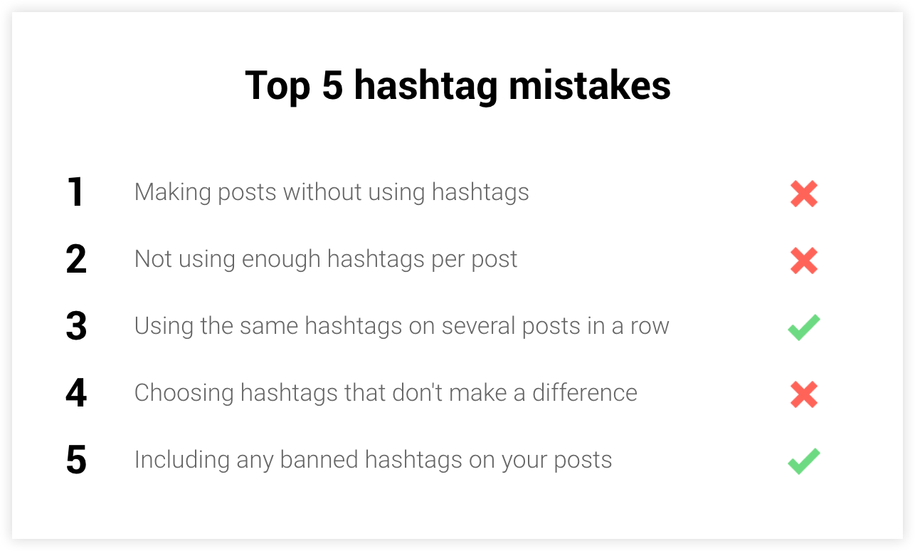 top 5 hashtag mistakes on Instagram