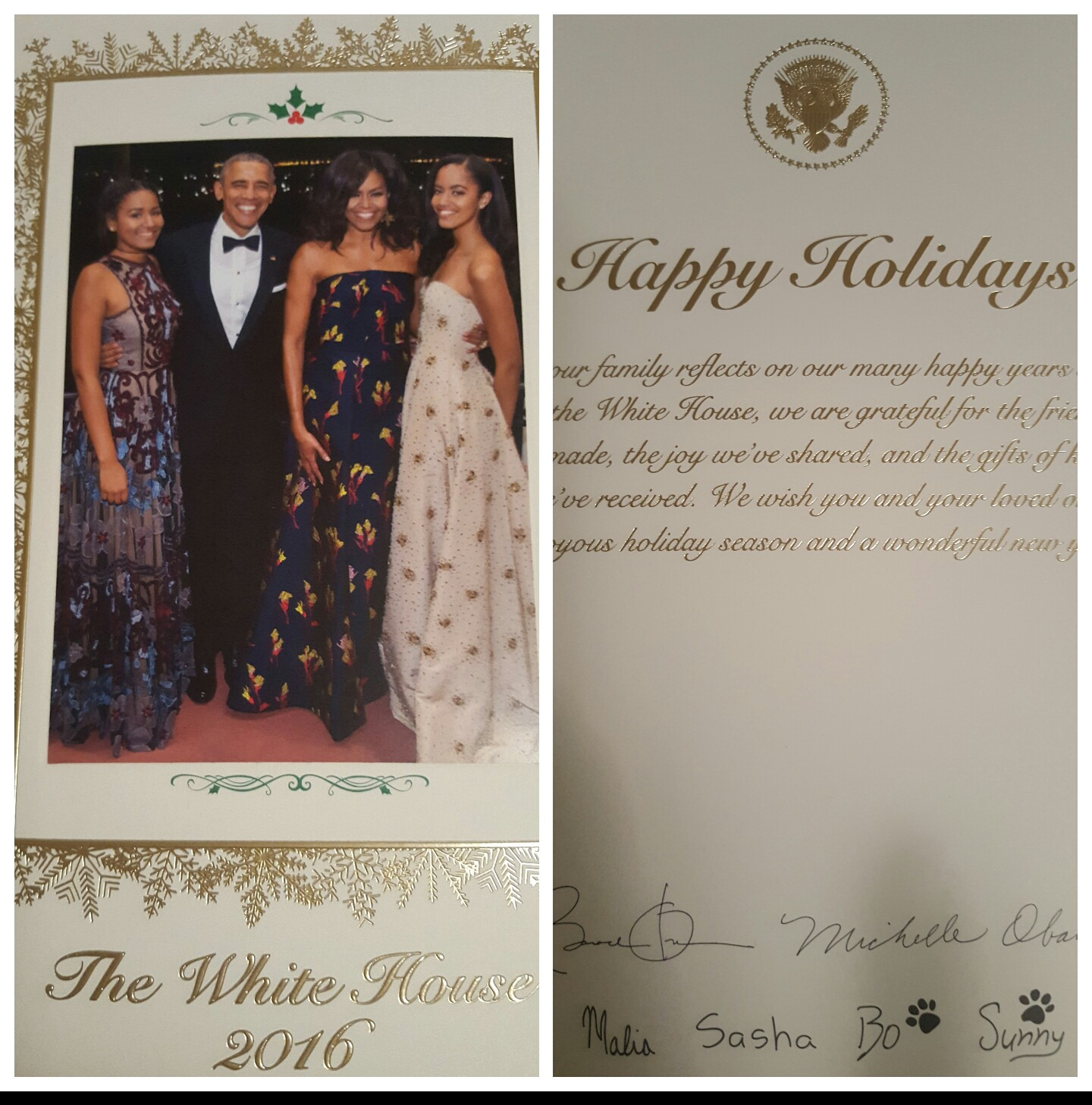 Carla R Jenkins Receives Official 2016 White House Christmas Card