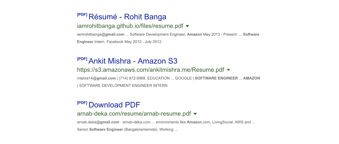 Resumes of Software Engineers