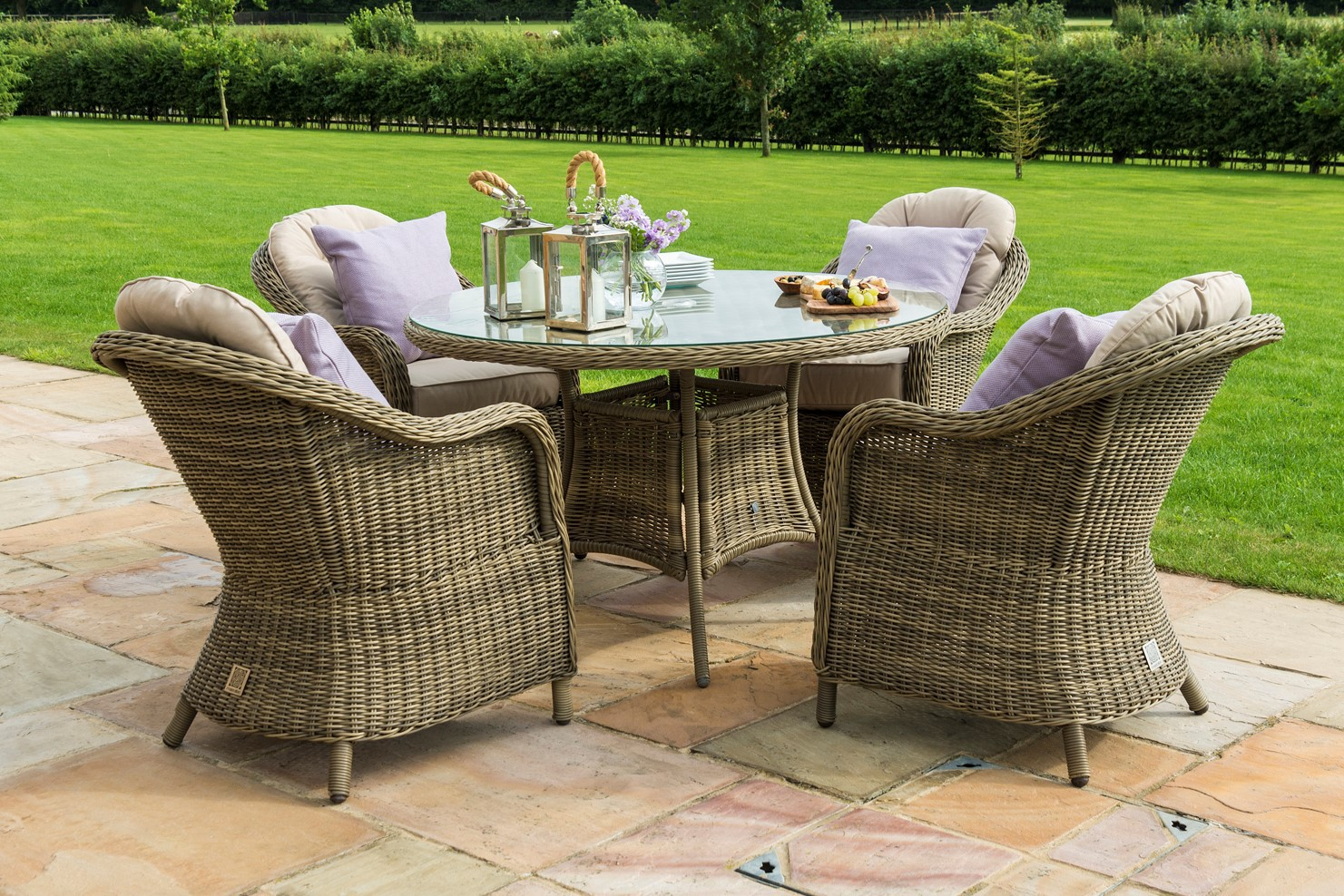 Winchester 4 seat Round Dining Set – rattanfurniture fairy – Medium