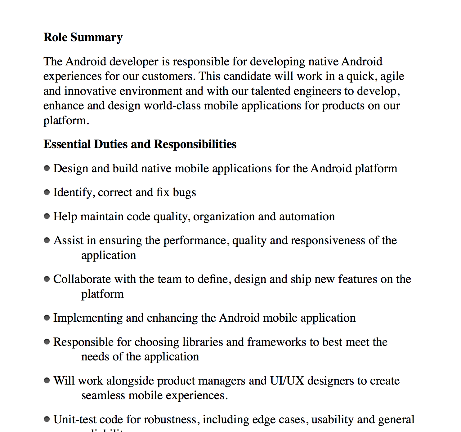 now the job description was not the issue the issue was this - App Developer Job Description