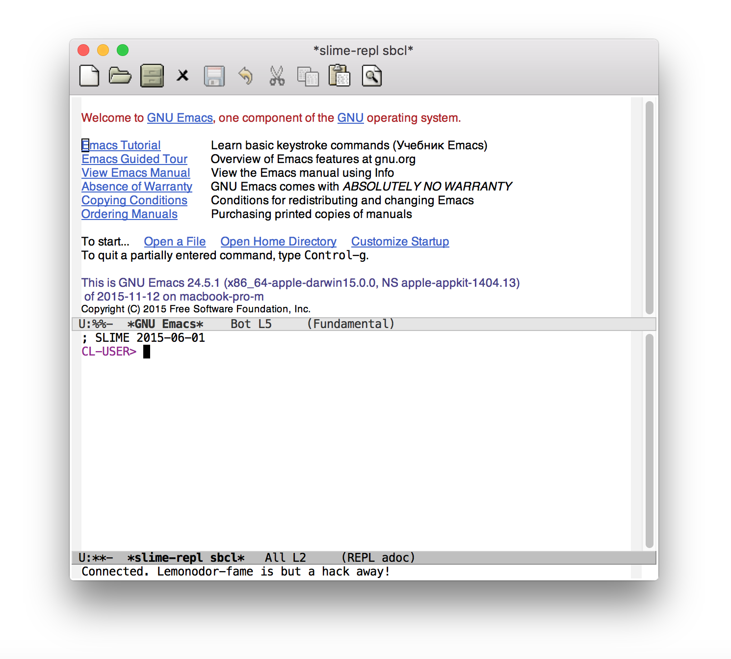 emacs M-x slime-connect 127.0.0.1