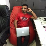 Our Own Mishraji comfortable on his bean bag