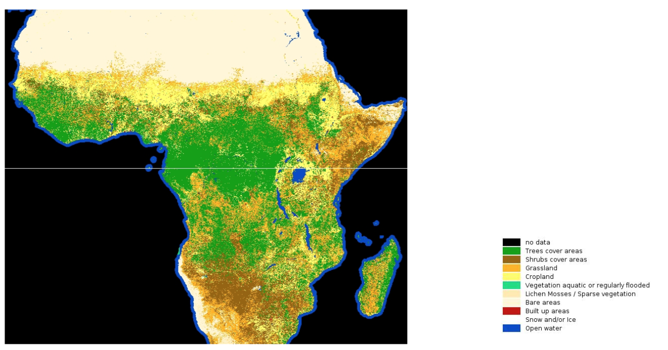 Geographical representation of Landcover classification labels sourced from the LandCoverNet dataset