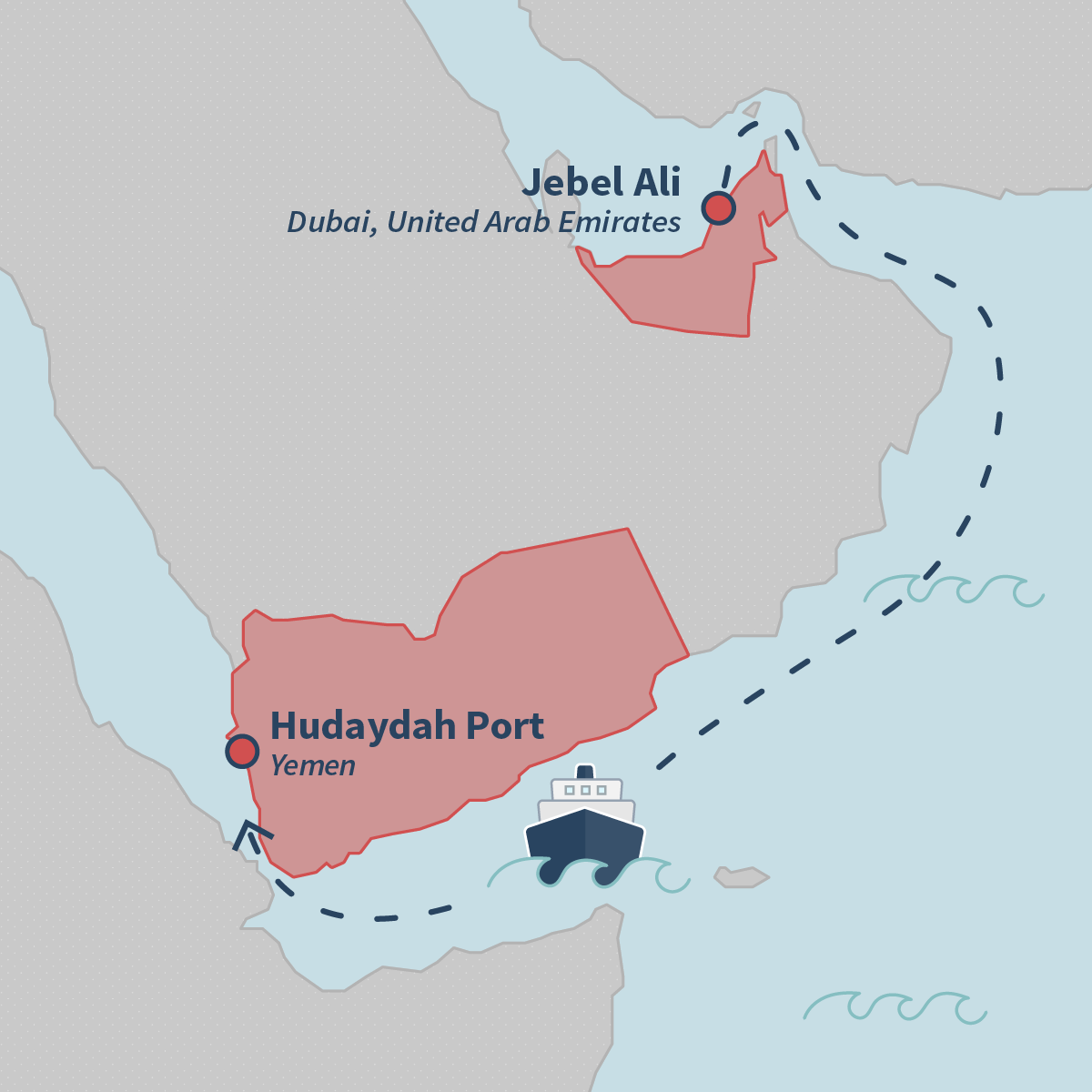 A map shows the route the ship took to deliver the cranes to Yemen.