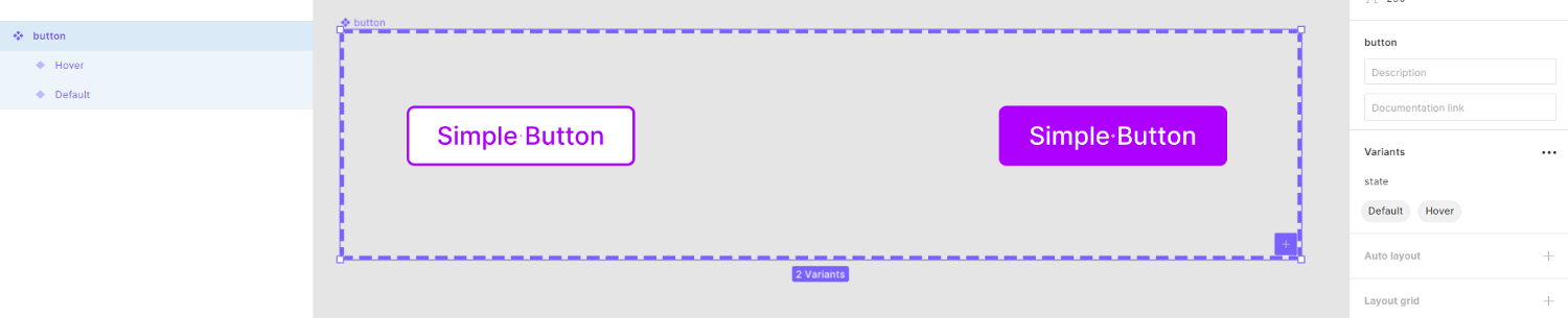 Screenshot of Figma showing two button variants
