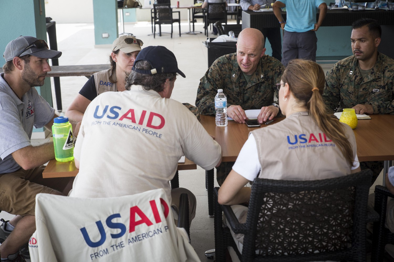 USAID's DART and JTF-LI discuss response plans for Saint Martin on Sept. 13, 2017. Photo Credit: Sgt. Ian Leones, U.S. Marine Corps