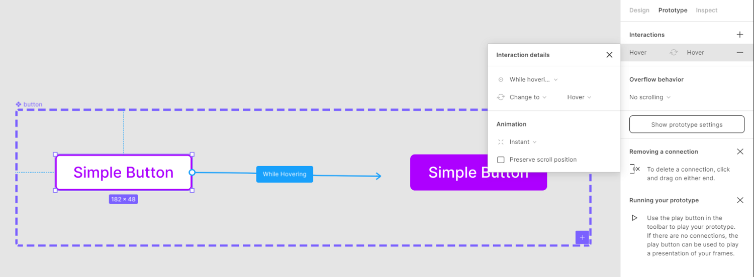 Screenshot of Figma showing process of adding an interaction between variants to creat an interactive component