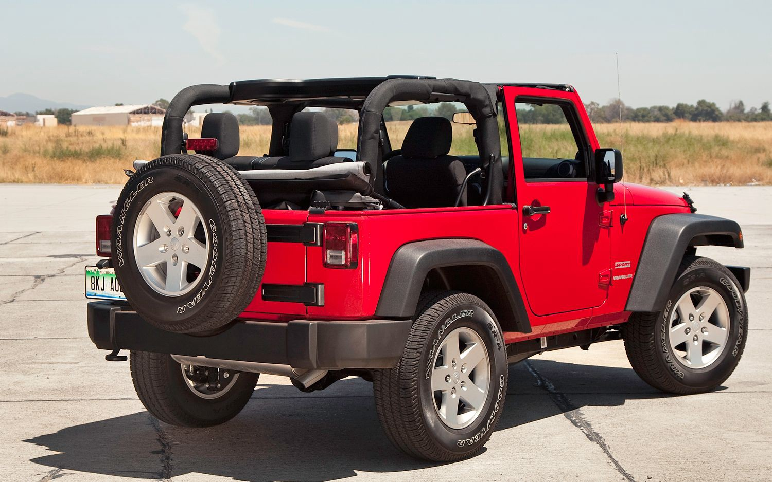 Red Jeep Wrangler Soft Top