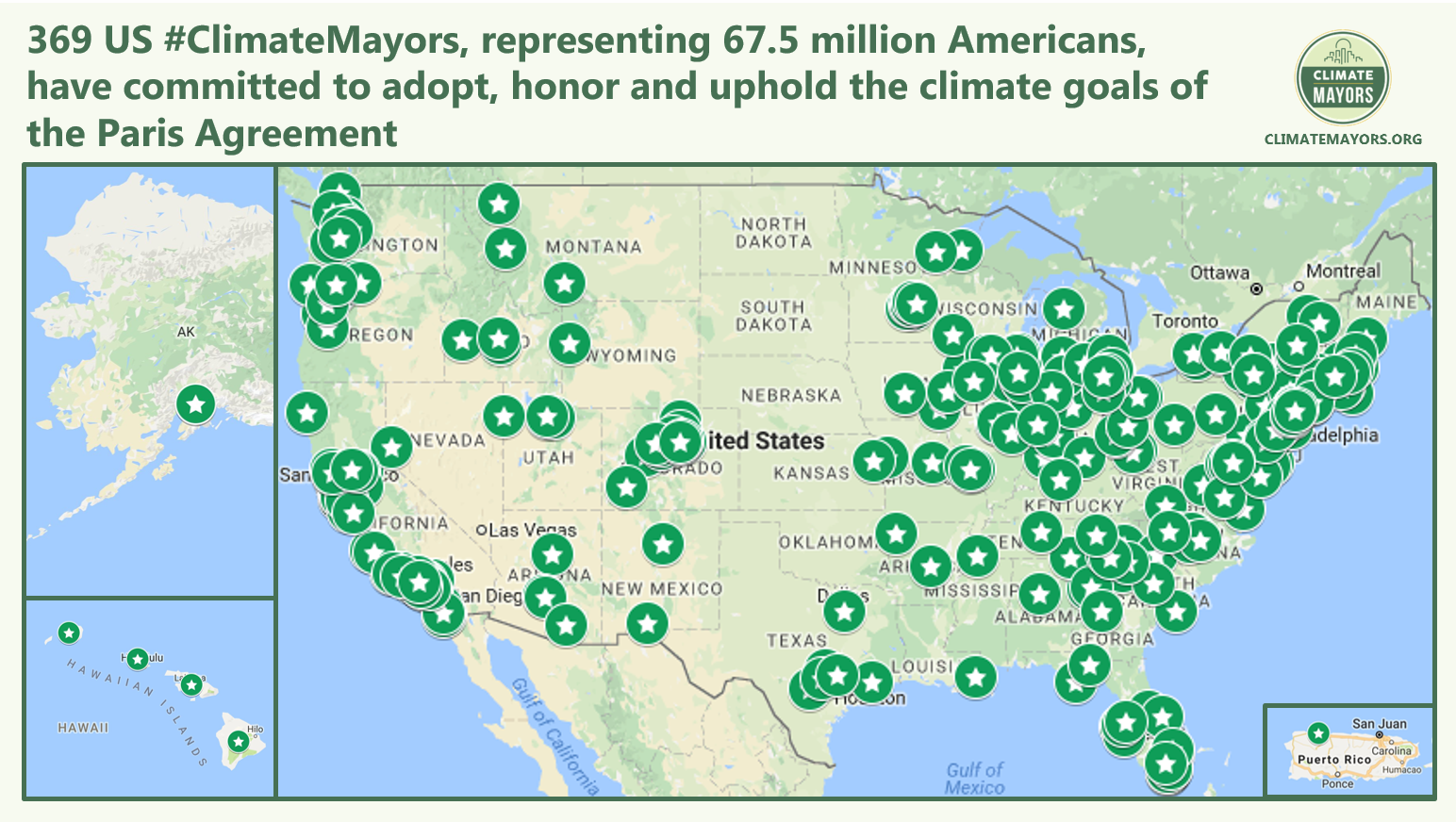 Climatemayors Adopt Honor And Uphold Parisagreement Goals Map Of Us By Climate