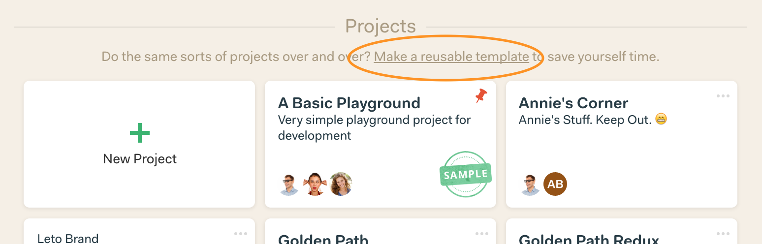 New in Basecamp 3: Project Templates – Signal v. Noise
