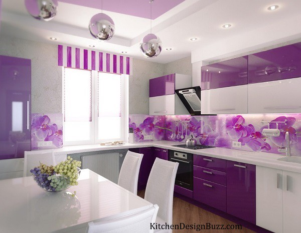 Purple Becomes A Neutral When It Has Plenty Of Gray Added To Tone Down This Kitchen Clad In Grayish Wall Covering Is Simply Stunning