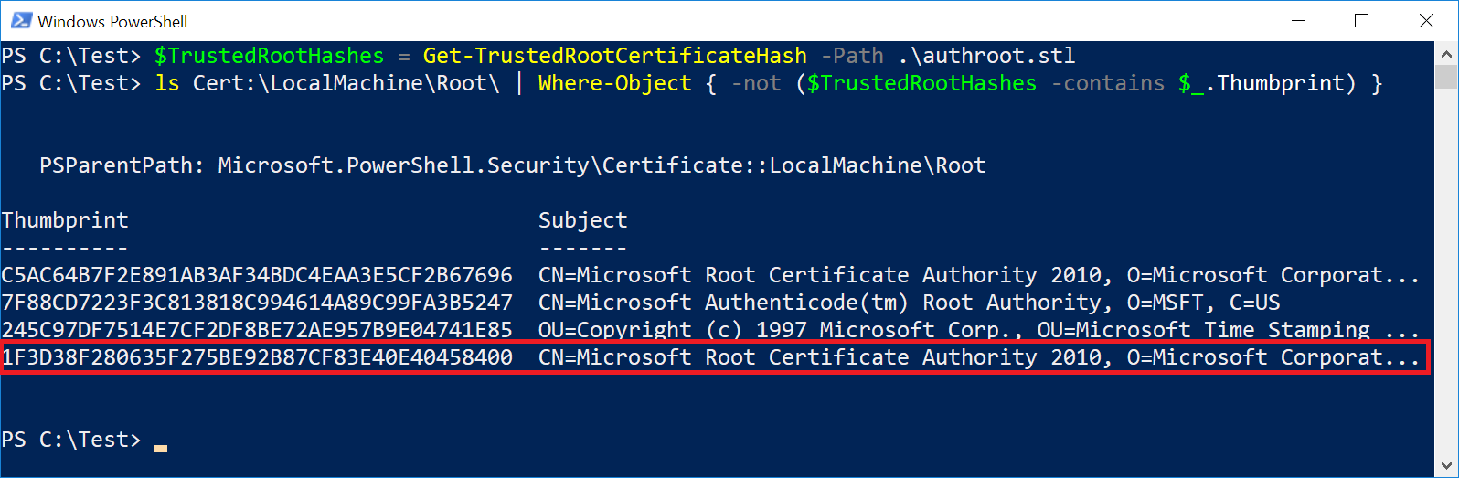 Code signing certificate cloning attacks and defenses all of the trusted certificate thumbprint values so that i could perform similar validation in a powershell script in the screenshot below 1betcityfo Gallery