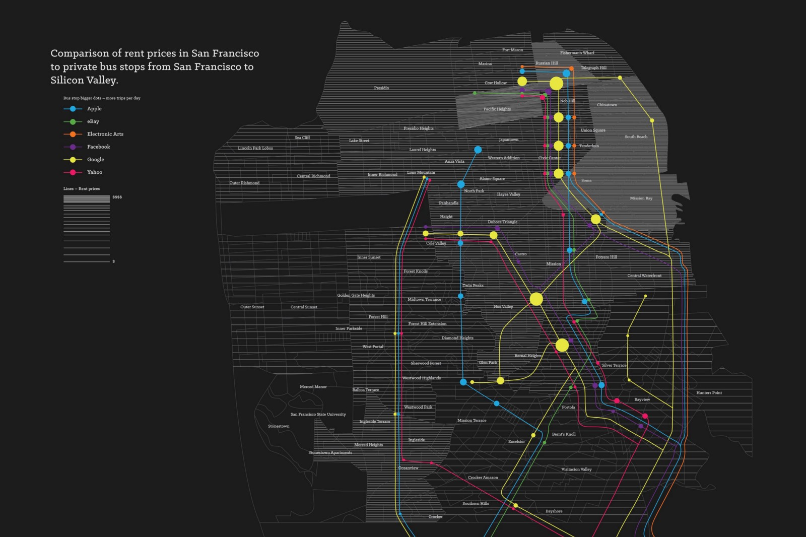 Map Shows SF Rent Prices vs Shuttle Locations The Bold Italic