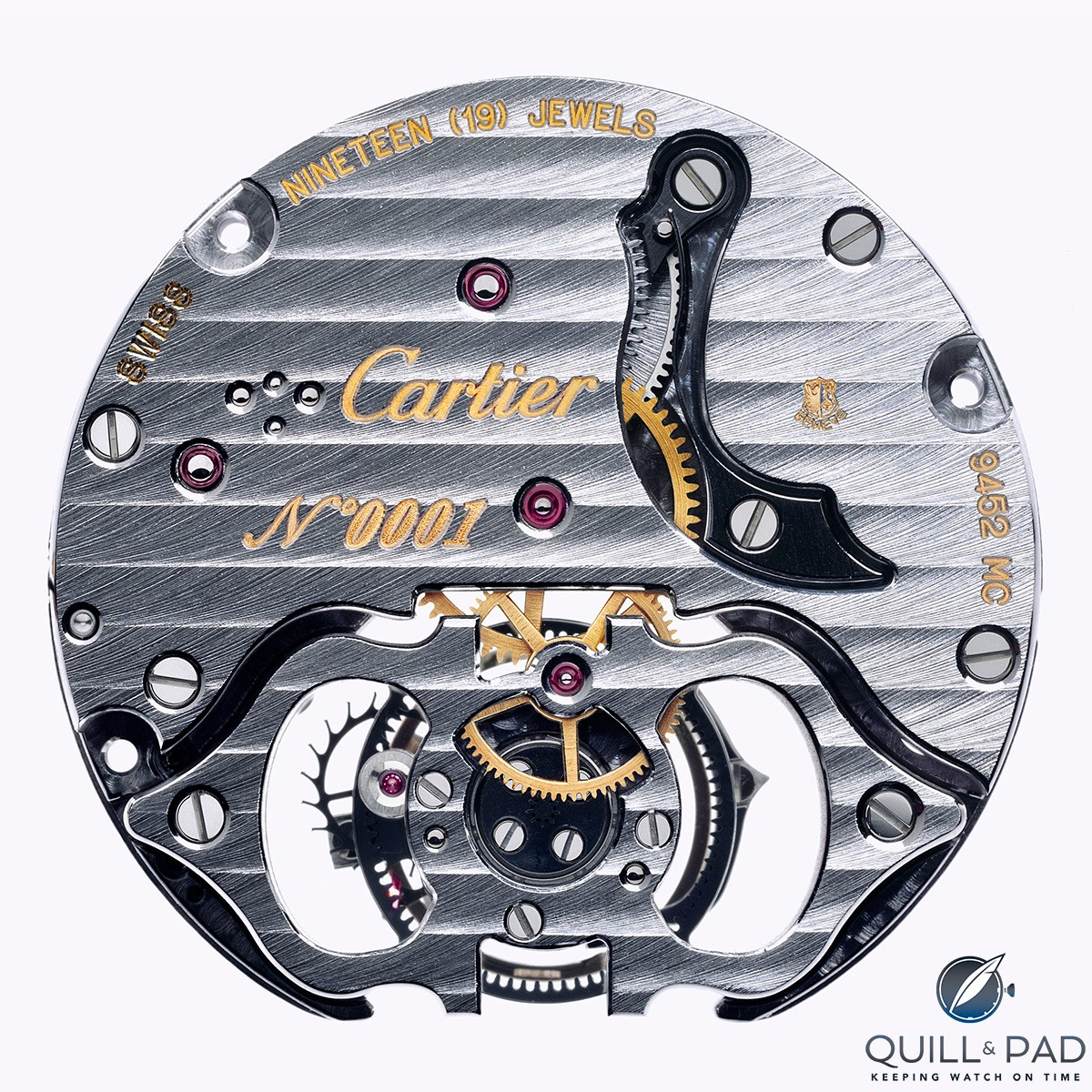 The Geneva Seal is visible at 2 o'clock on this Cartier movement