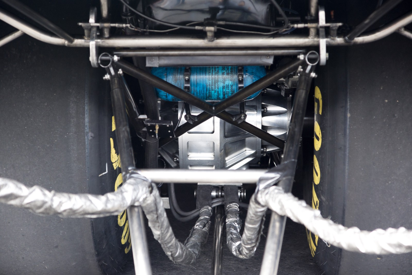 The gear box of a nitro funny car hiding the gears inside