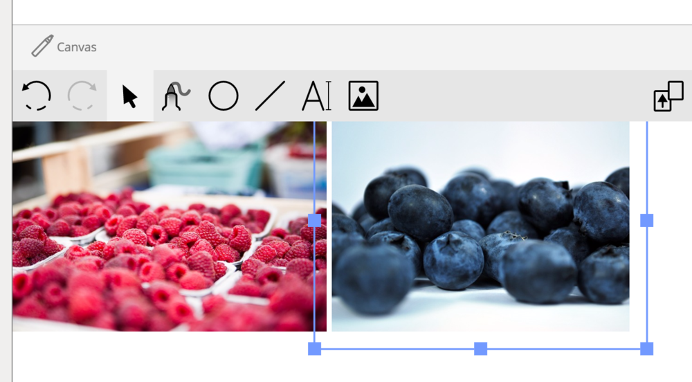 Use the blue corner drag handles to make the height of each image roughly the same and arrow keys on your keyboard to move them around with precision.
