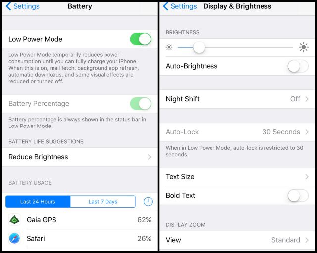 Follow these steps to prolong battery life when using GaiaGPS on the iPhone.