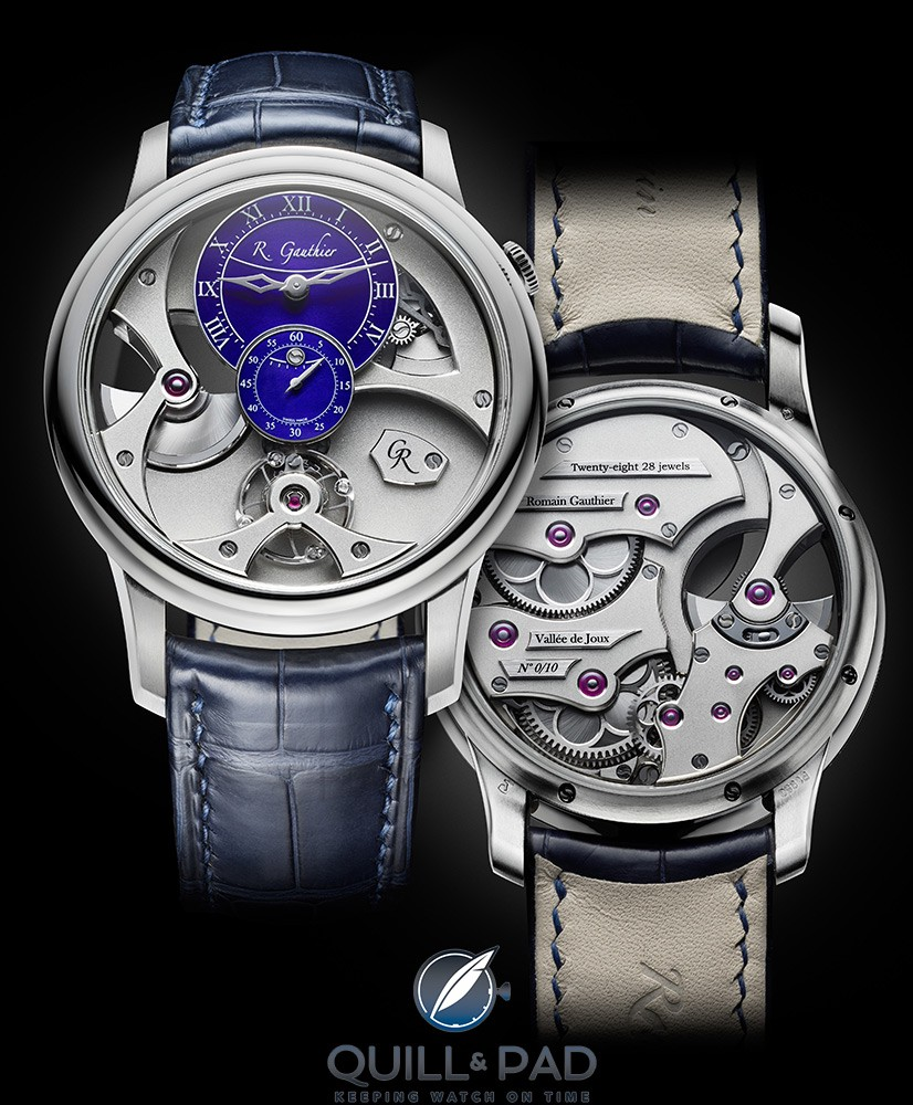 Romain Gauthier Insight micro-rotor in limited edition platinum with blue enamel dial