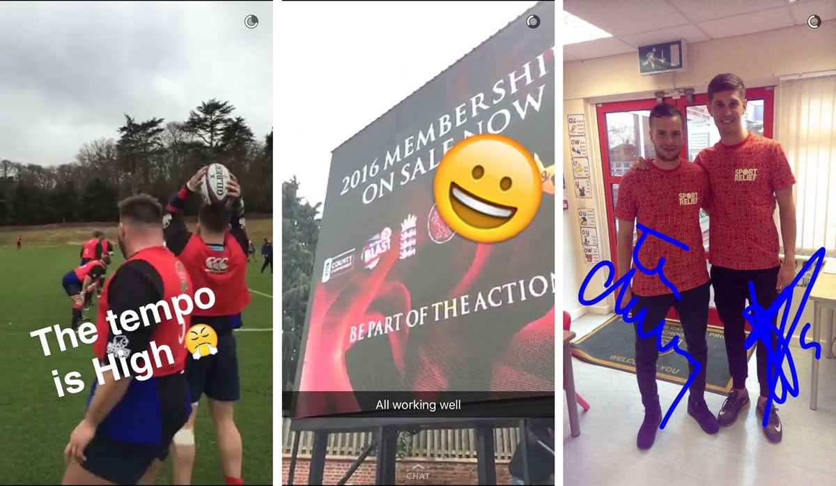 Example snaps from England rugby, Somerset CCC, and Everton football club.