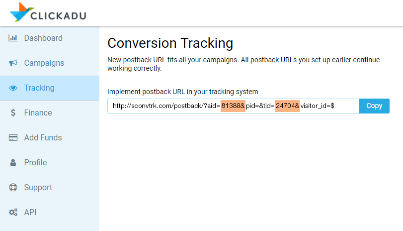 clickadu conversion tracking