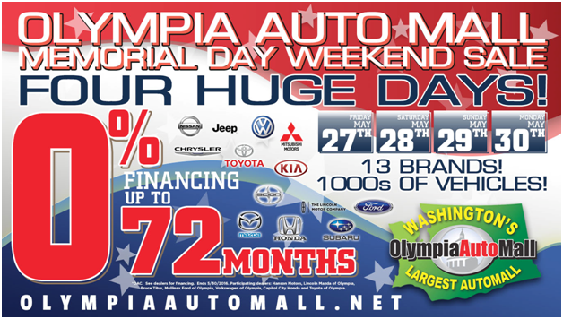 Olympia Auto Mall >> The Olympia Auto Mall Memorial Day Weekend Sale Olympia