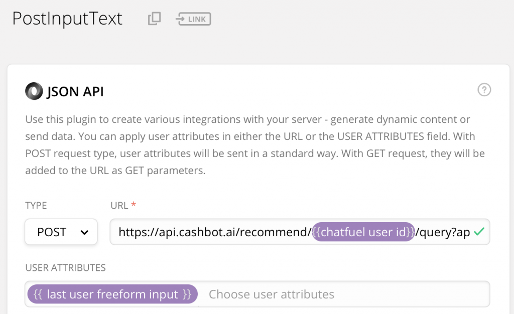 Figure 8. Chatfuel JSON API plug in.