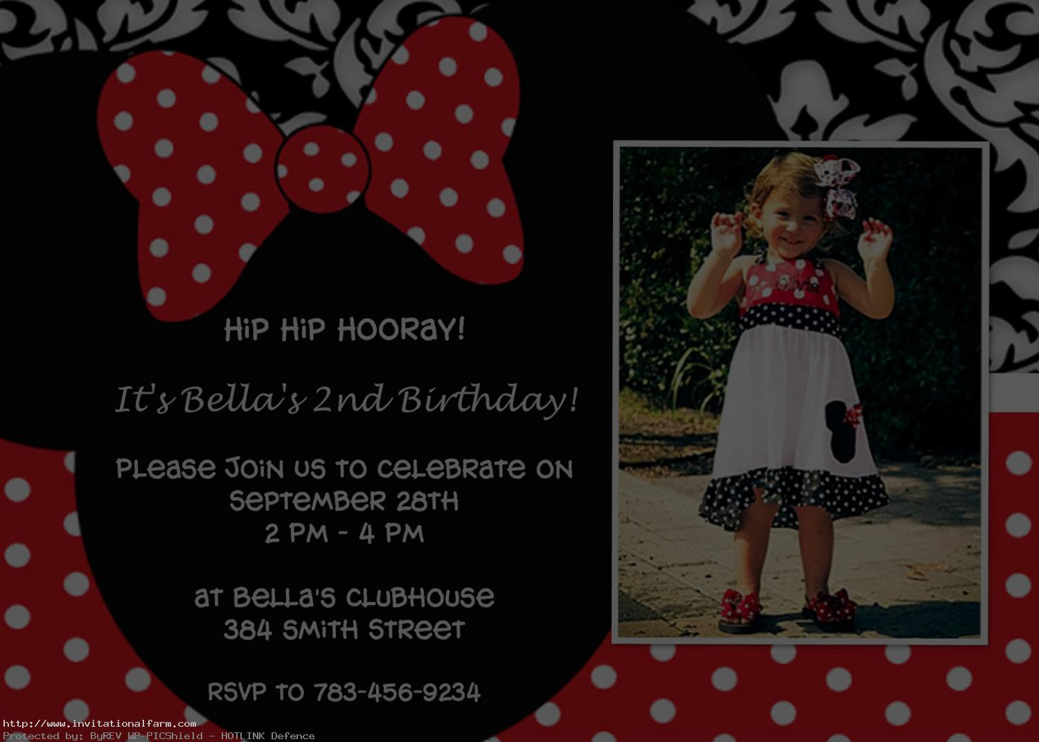 Free Minnie Mouse 1st Birthday Invitations Template