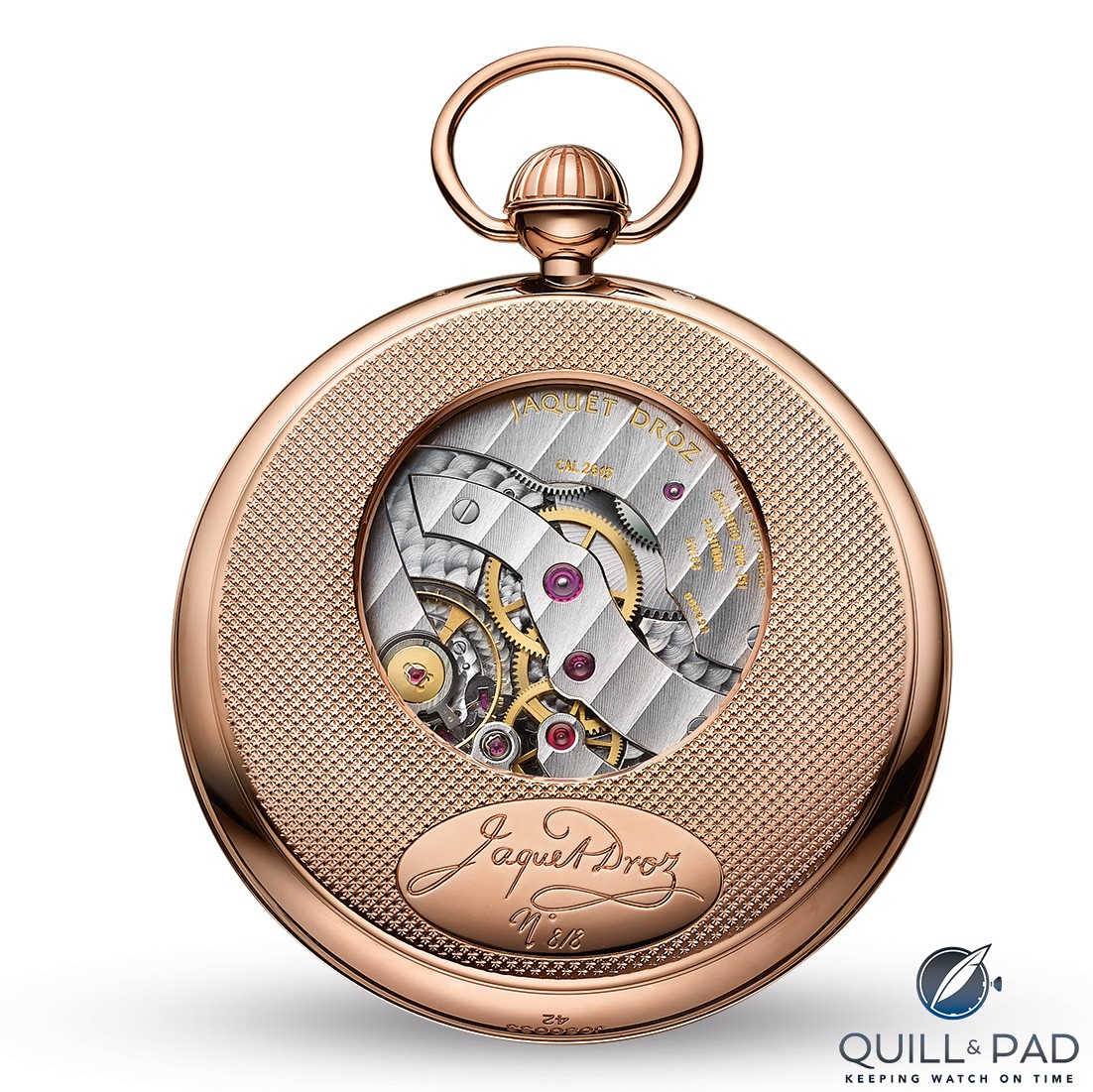 View from the back of the Jaquet Droz Pocket Watch Paillonnée