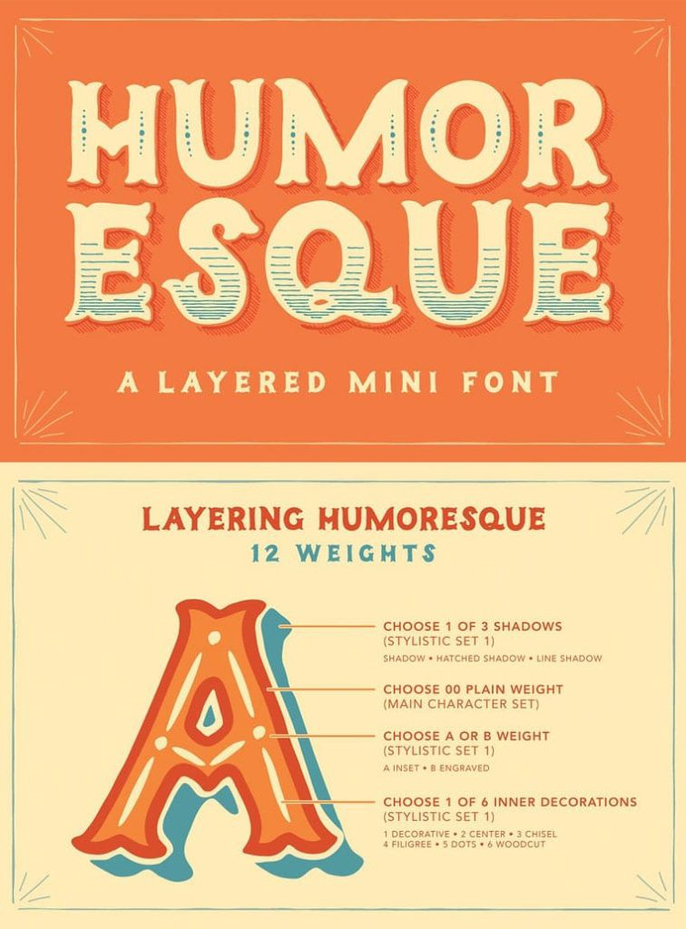 Humoresque Layered Mini Font by Ornaments of Grace