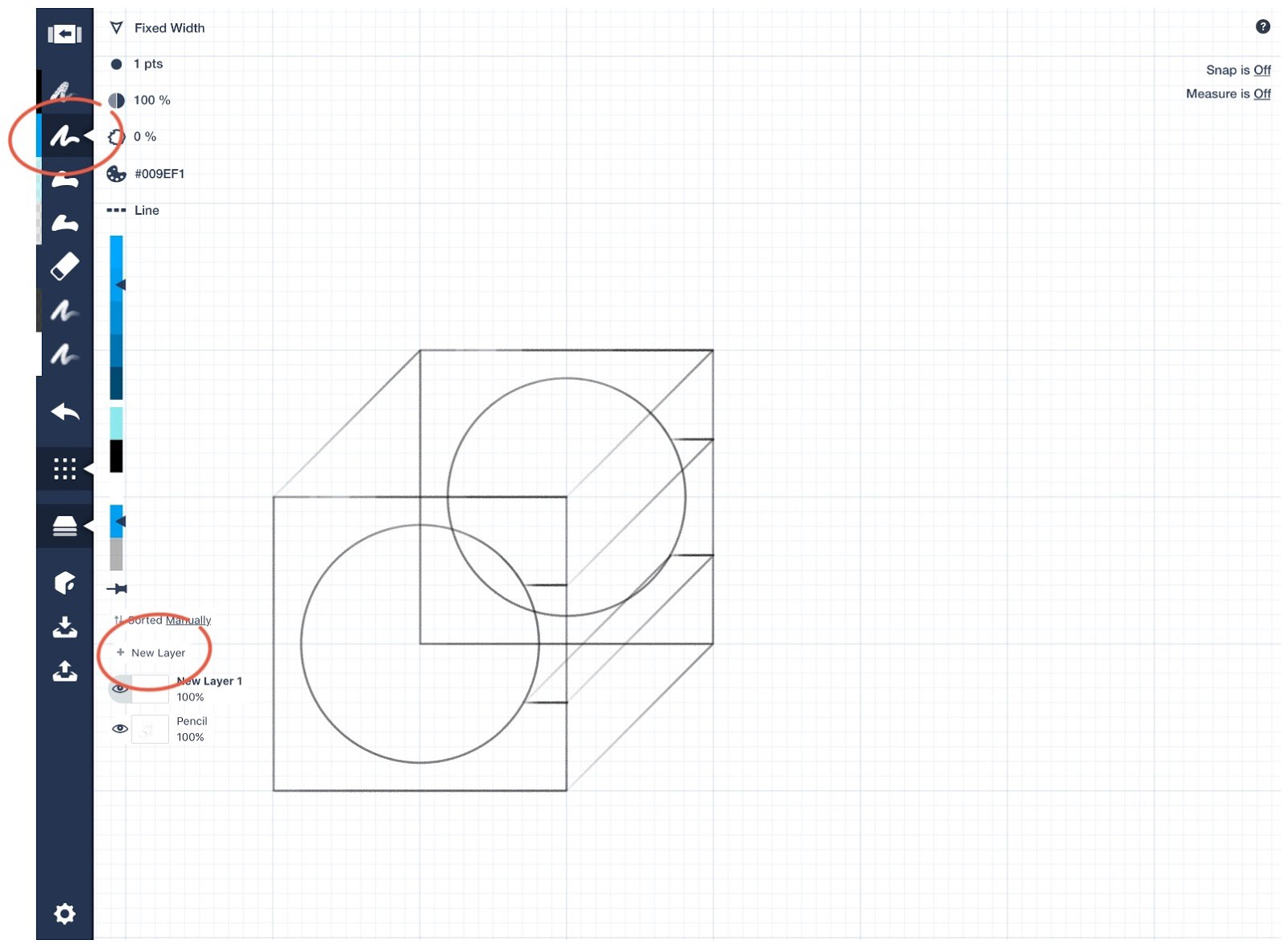 How To Just Design With Concepts Medium Overlapping Circles Symbol Mean In An Electrical Schematic Diagram 6 The Next Step Is Ink Over Our Shape Make A New Layer By Touching On Menu