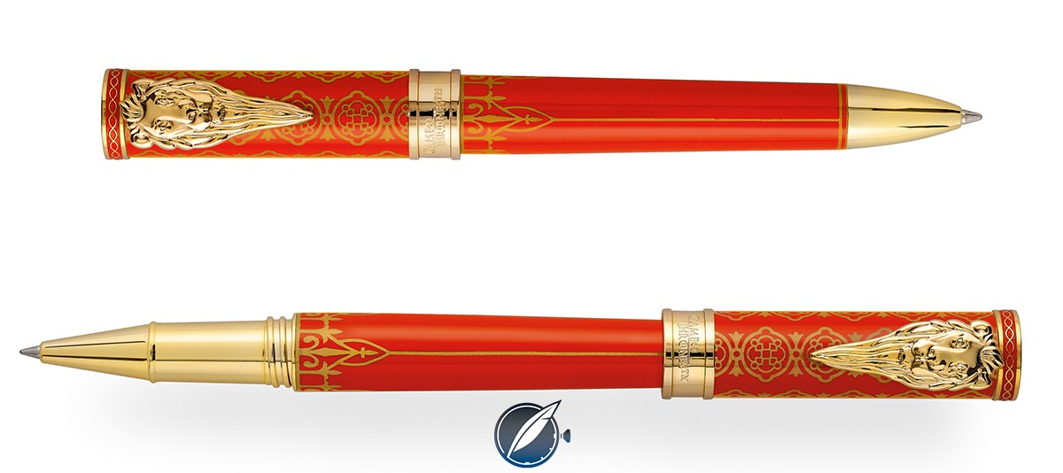 Montegrappa 'Game of Thrones' House Lannister ball point (top) and roller ball