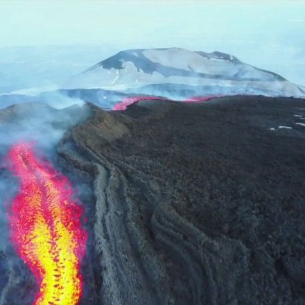 Aerial View of Pouring Lava from Mount Etna