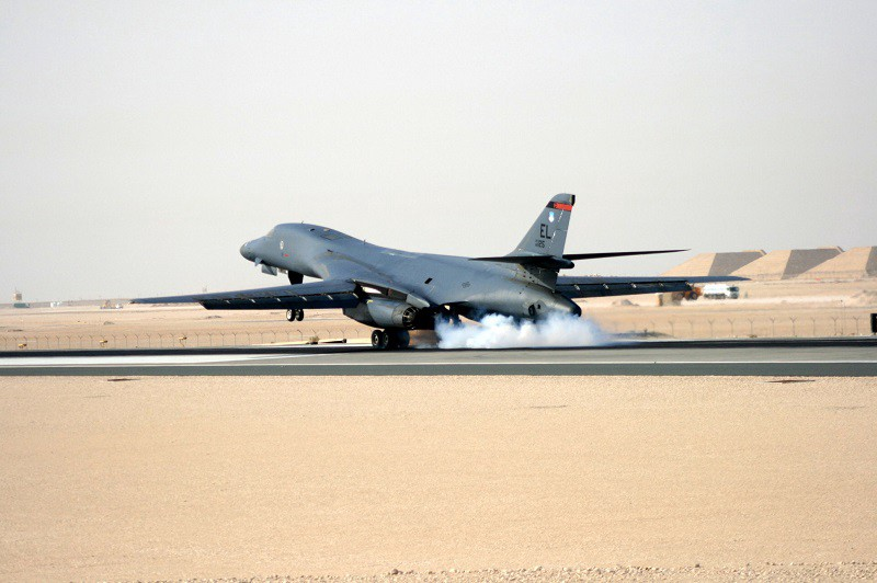 The 9th Expeditionary Bomb Squadron successfully flew a mission in support of the Remotely Operated Video Enhancement Receiver (ROVER) Internet Protocol Network, or RIPN, project, Sept. 24, 2013. During the demonstration, they were able to form a network through the B-1B Lancer's sniper pod to several ROVERs on the ground, effectively allowing them to pass digital close air support targeting coordinates or sensor points of interest to the B-1 crew. (Courtesy Photo)