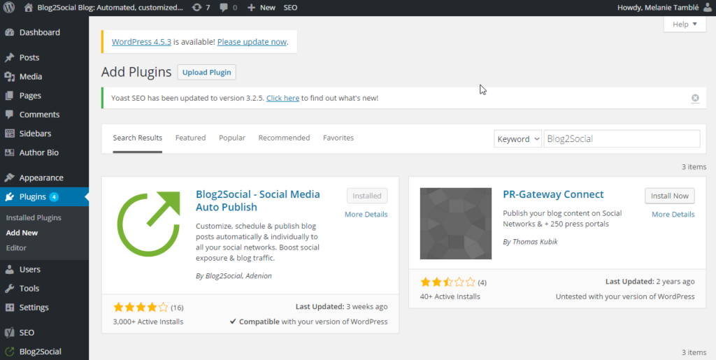install the blog2social plugin
