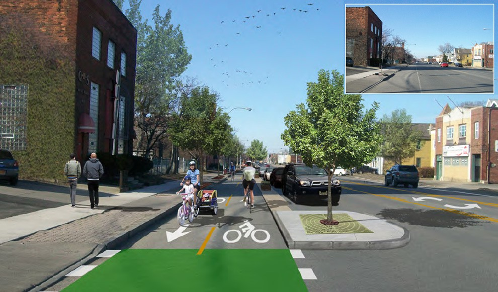 Photo-simulation view of the two-way cycle track proposed for the Niagara Street Catalyst Project (currently under final design by Watts Engineering, Alta, and Stoss Landscape Architects).